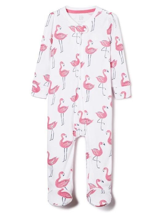 beyaz Flamingo desenli uzun kollu tulum