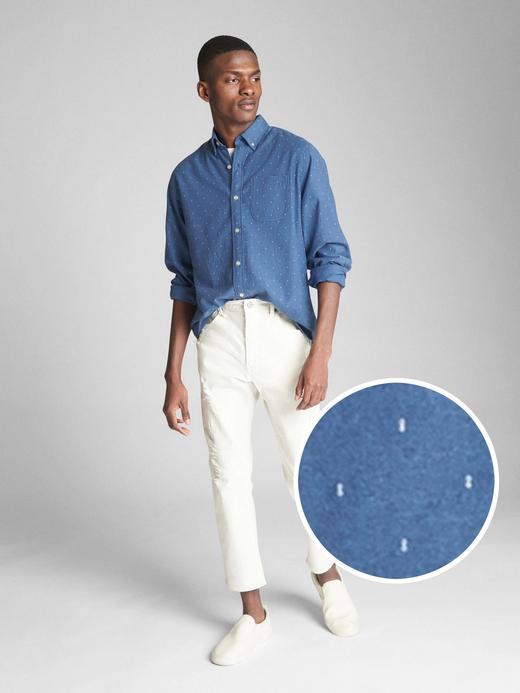 Erkek lacivert baskılı Desenli Oxford Gömlek
