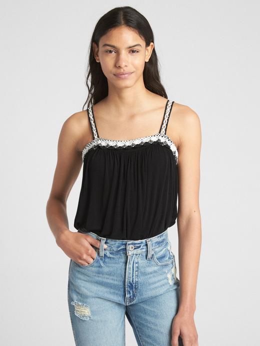Kadın siyah İşlemeli askılı bluz