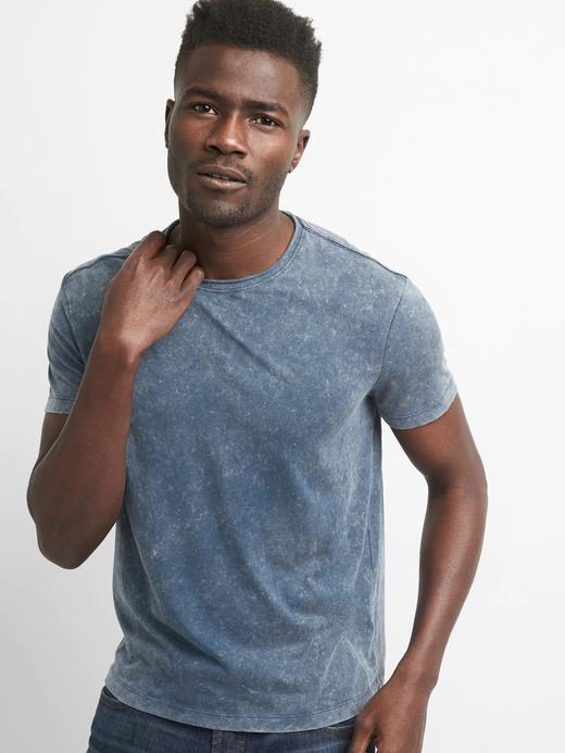 Erkek orta indigo Kısa kollu sıfır yaka t-shirt