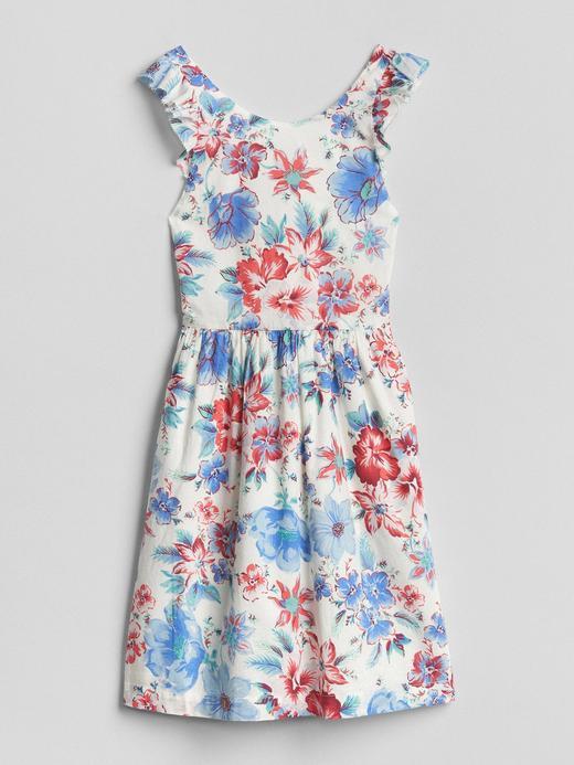 Çiçek desenli fırfır detaylı elbise
