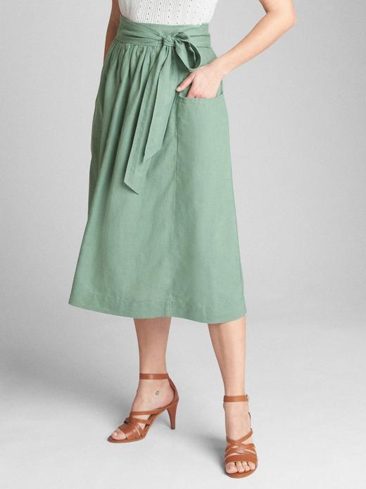 Kadın Yeşil Kuşaklı keten ve pamuk karışımlı etek