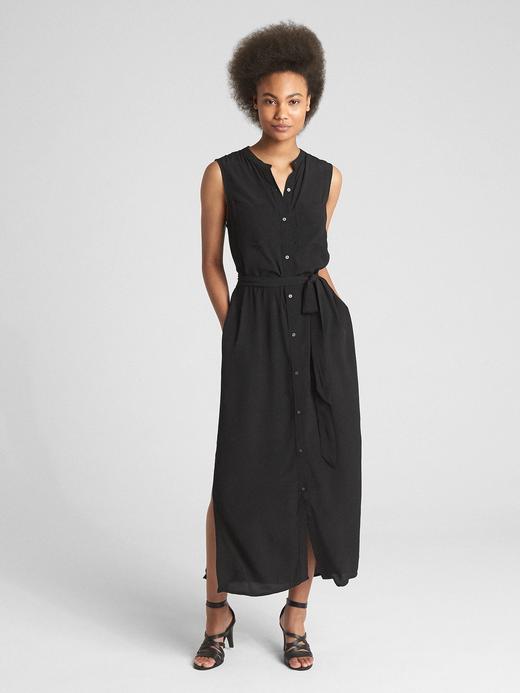 Kolsuz Maxi Gömlek Elbise