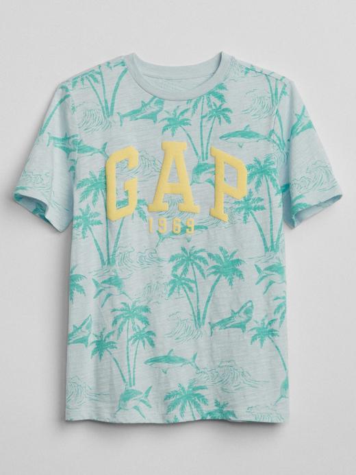 açık mavi Logolu palmiye desenli t-shirt