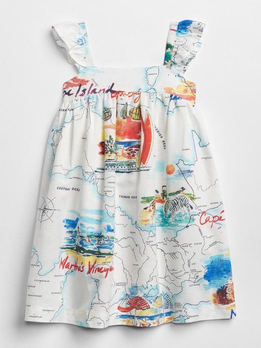 babyGap harita desenli fırfırlı elbise
