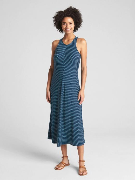 Çizgili kolsuz midi elbise