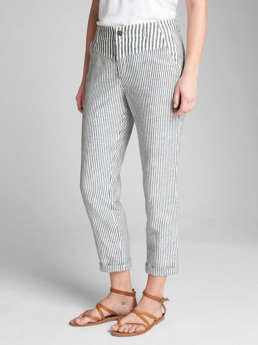 Kadın lacivert çizgili Keten ve pamuk karışımlı girlfriend chino pantolon