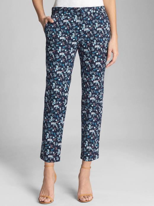 Kadın çiçek desenli Desenli slim kısa paça pantolon