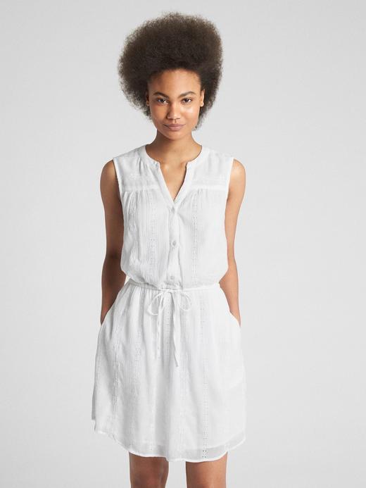 Kadın beyaz Kolsuz gömlek elbise
