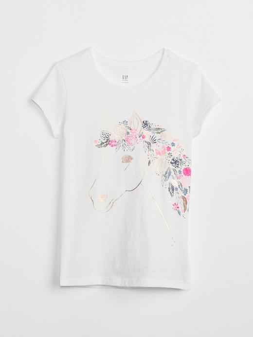 Kız Çocuk kırık beyaz Baskılı kısa kollu t-shirt
