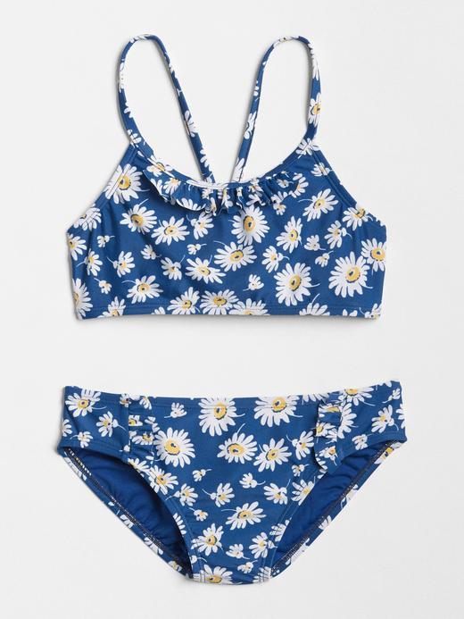 Kız Çocuk mavi Papatya desenli bikini takımı