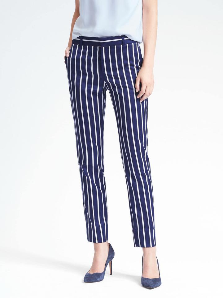 Kadın lacivert Ryan Slim Straight-Fit Çizgili Pantolon