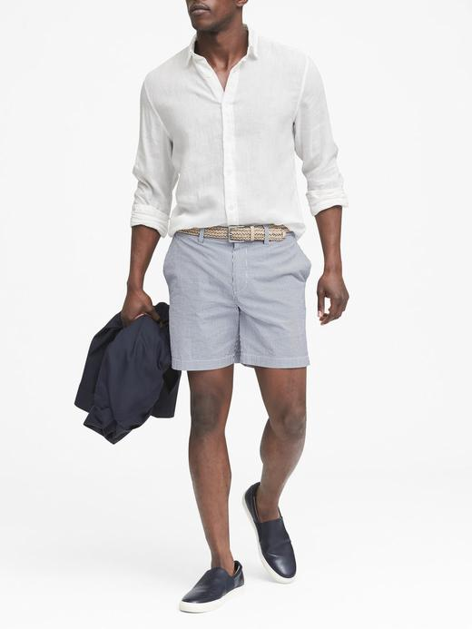 Erkek Beyaz Camden Standard-Fit Keten Gömlek