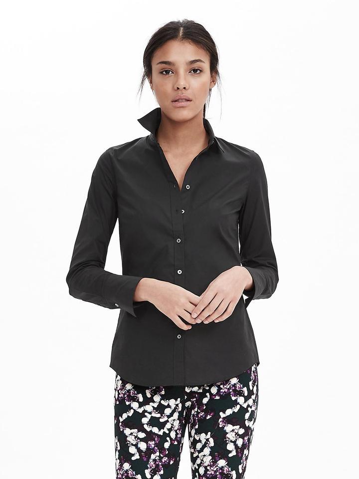 Kadın siyah Riley-Fit Poplin Gömlek