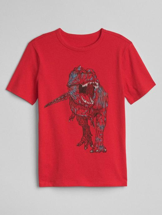 Kırmızı Baskılı Kısa Kollu T-Shirt