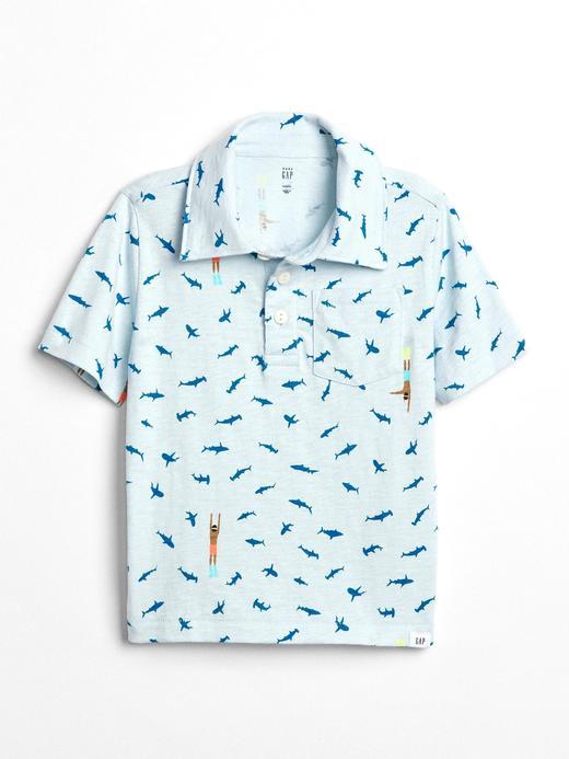 bulut mavisi Desenli polo t-shirt