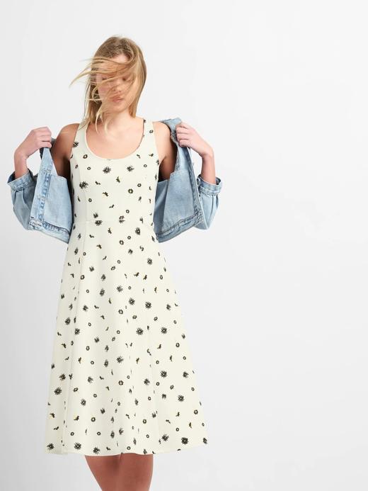 Desenli askılı midi elbise