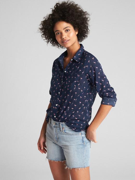 somon Desenli boyfriend gömlek