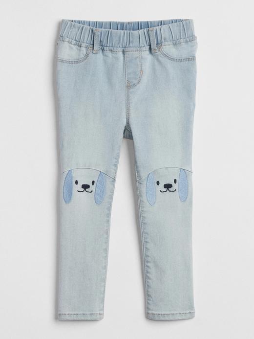 Dizleri baskılı tayt jean pantolon