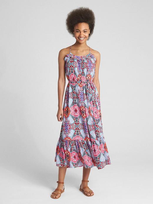 Askılı desenli maxi elbise