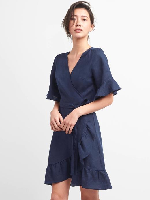 lacivert Keten ve pamuk karışımlı fırfırlı elbise