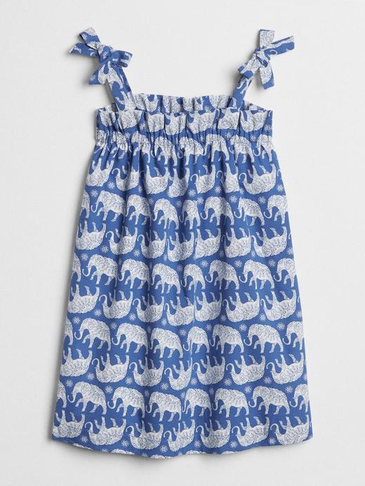 Fil desenli fiyonk detaylı elbise
