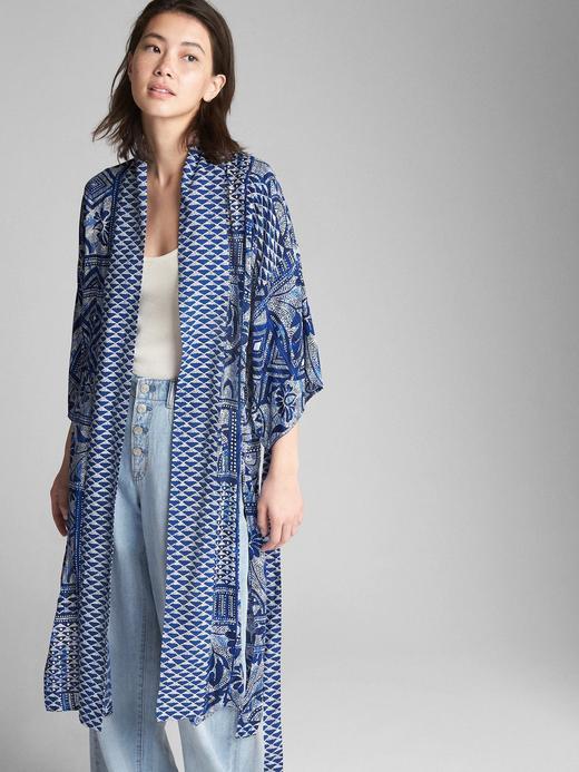 Desenli kimono kollu hırka