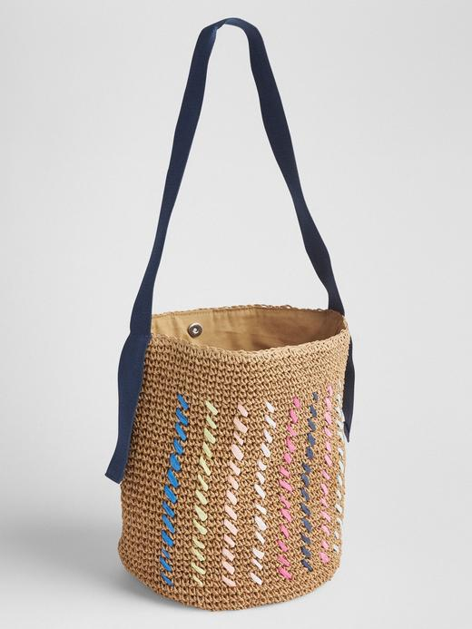 Desenli hasır çanta