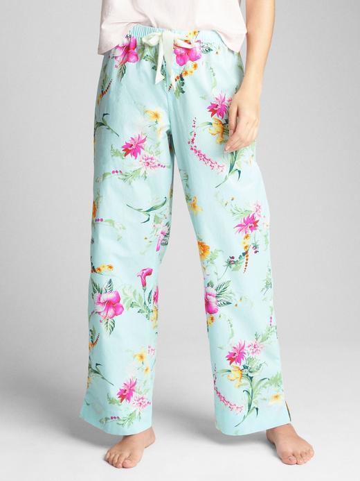 çiçekli mavi Desenli poplin pijama altı