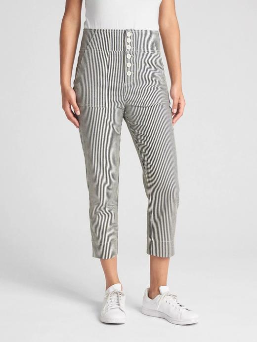 Yüksek belli çizgili chino pantolon