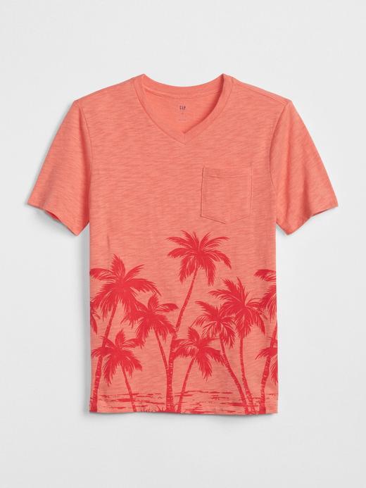 Baskılı V Yaka T-Shirt