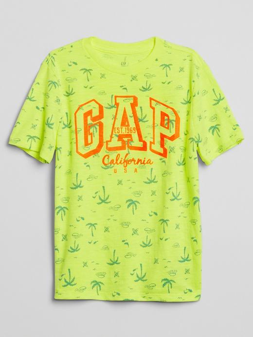 Logolu palmiye desenli t-shirt