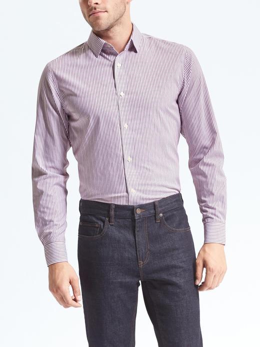 Grant Slim-Fit Ütü Gerektirmeyen Çizgili Streç Gömlek