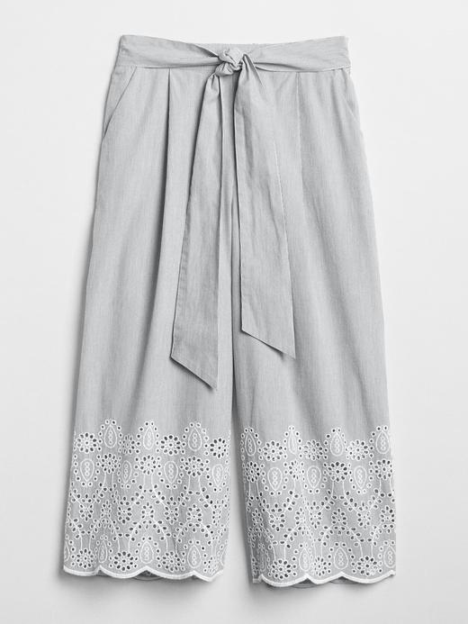 Kadın gri çizgili Bol ve Kısa Paçalı Pantolon