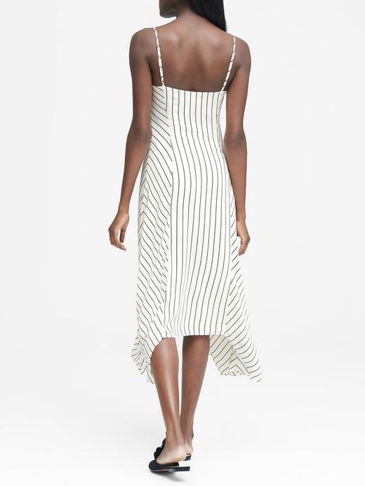 beyaz Çizgili Askılı Elbise