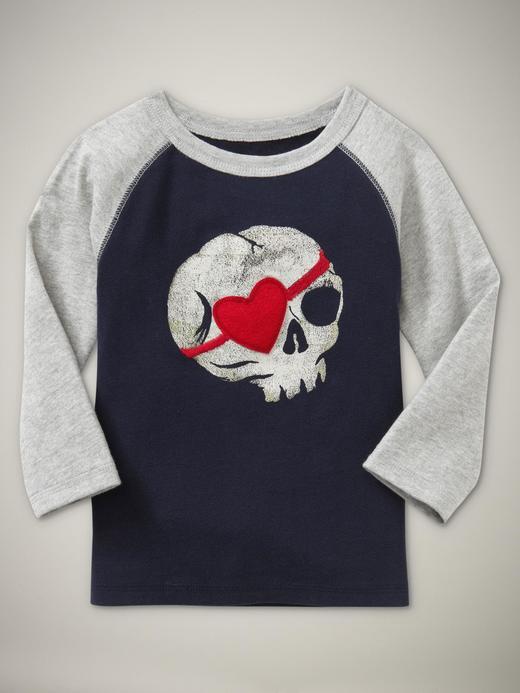 lacivert Desenli Reglan Kollu T-shirt