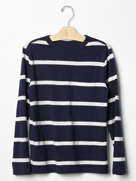 Erkek Çocuk koyu lacivert Uzun Kollu Çizgili T-shirt
