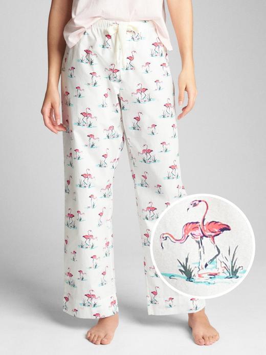 flamingolu beyaz Desenli poplin pijama altı