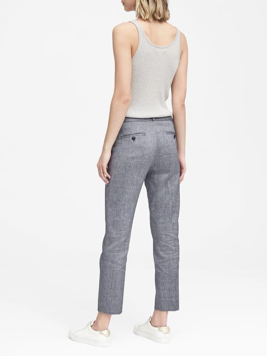 Kadın lacivert Avery Straight-Fit Streç Keten Pamuk Karışımlı Pantolon