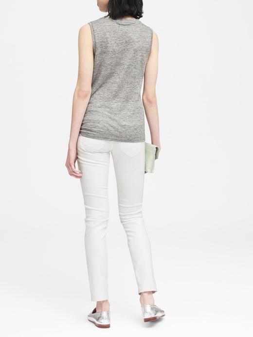 Kadın açık gri Saf Keten Kolsuz Bluz