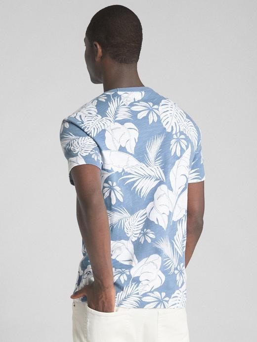 açık mavi Tropikal Desenli Kısa Kollu Sıfır Yaka T-Shirt