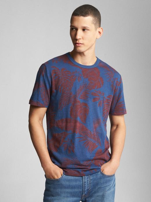 Tropikal Desenli Kısa Kollu Sıfır Yaka T-Shirt