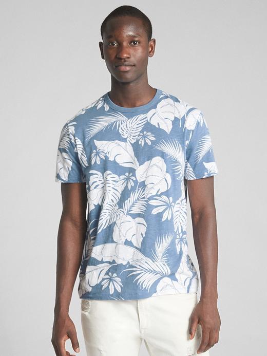 Erkek mavi Tropikal Desenli Kısa Kollu Sıfır Yaka T-Shirt