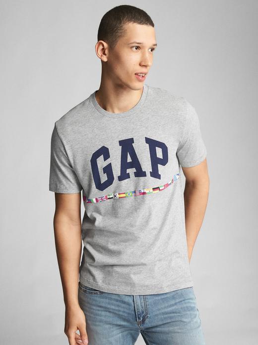 kırçıllı gri Logolu kısa kollu t-shirt