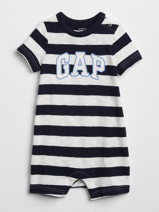 Bebek lacivert çizgili Çizgili Kısa Kollu Tulum