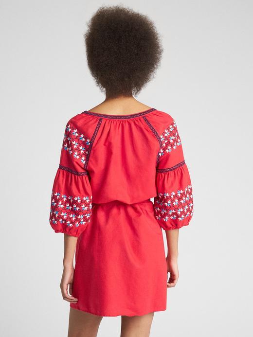 Keten Karışımlı Kemerli Elbise