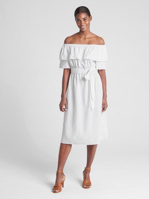Düşük Omuzlu Keten Karışımlı Elbise