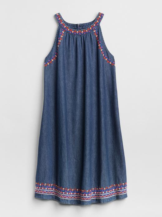 İşlemeli Kolsuz Denim Elbise