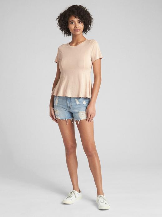 Vintage Yıkamalı Kısa Kollu Peplum T-Shirt