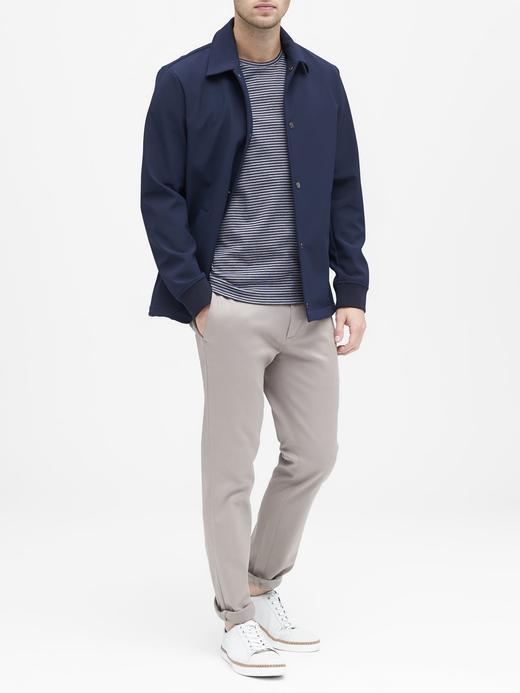 Erkek lacivert Luxury-Touch Çizgili Sıfır Yaka T-Shirt